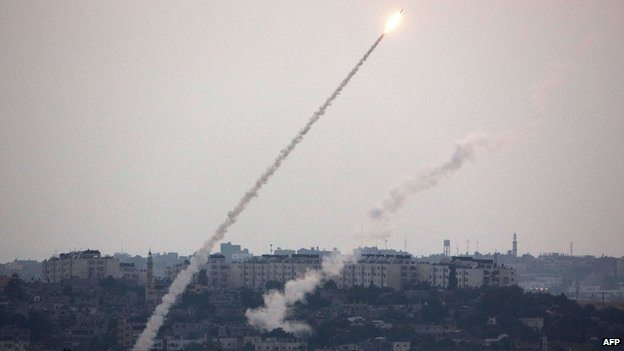 Rocket launched from the Gaza Strip, photographed from the southern Israeli border