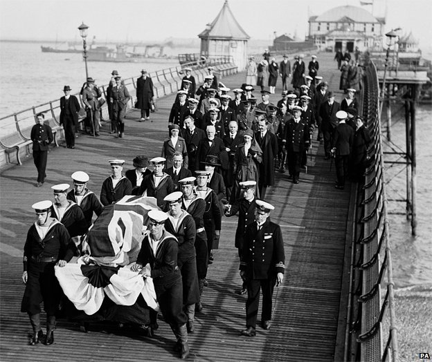Edith Cavell's coffin is escorted by officers of the Royal Navy