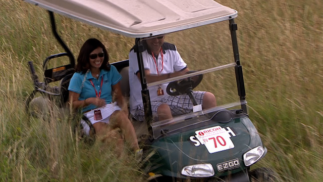 A gold buggy in the rough at the Women's British Open at Royal Birkdale