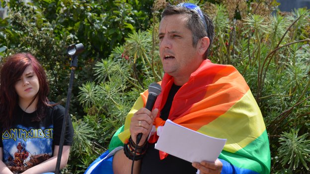 Martin Gavet addresses gay rights rally