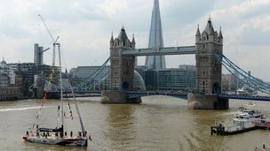 Boats passing through Tower Bridge during the Round the World Race Finish