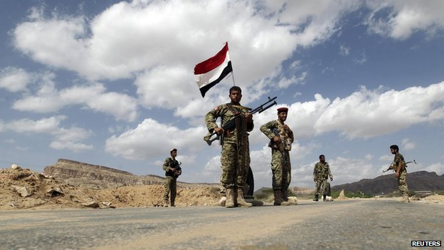 Yemeni government soldiers in southern Abyan province