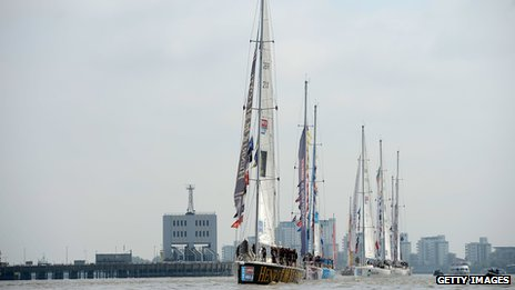 Boats in Round the World Race Finish