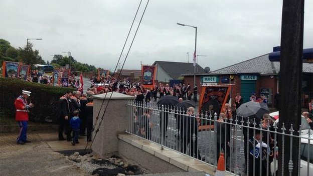 The first of a number of planned protest parades has started in Dromore, County Down
