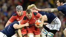 Sam Warburton on the attack against Scotland