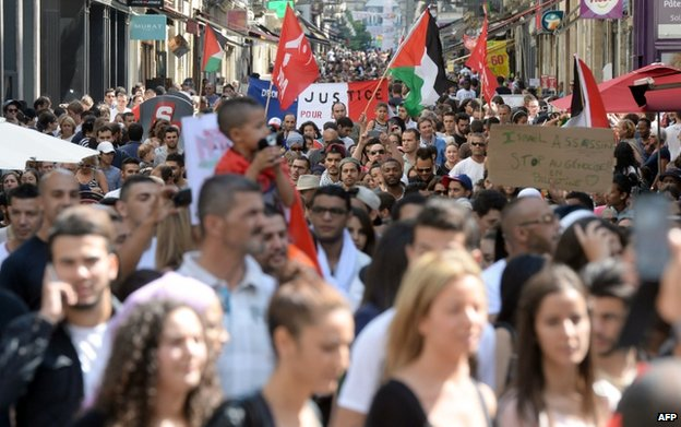 A pro-Palestinian rally in Bordeaux, France, 12 July