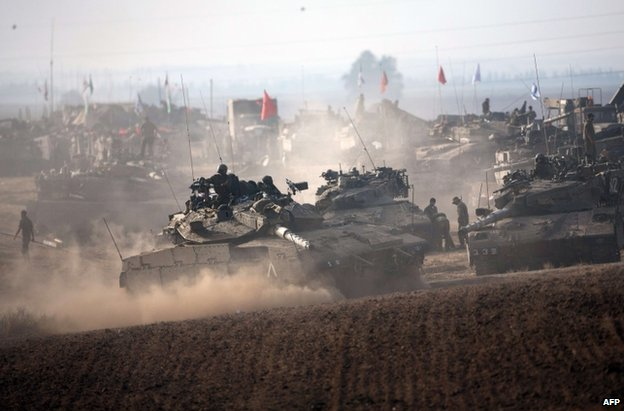 Israeli tanks near the Gaza Strip, 12 July