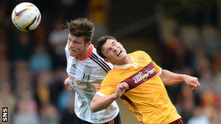 Fulham's Cameron Burgess and Motherwell's John Sutton