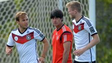Germany players with Joachim Low