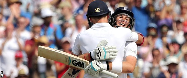 Joe Root led the celebrations as James Anderson reached fifty