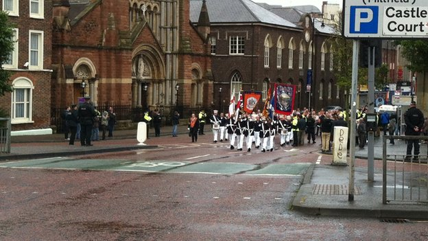 The return Orange Order parade passed by St Patrick's Catholic Church in Donegall Street