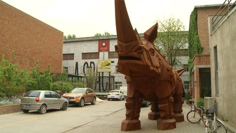Rhino in artistic enclave in Beijing where Light Chaser is based.