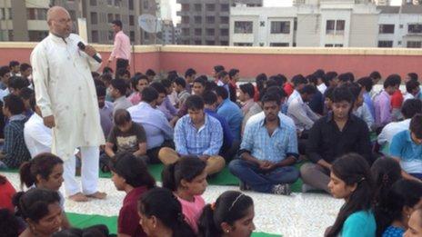 Employees meditating