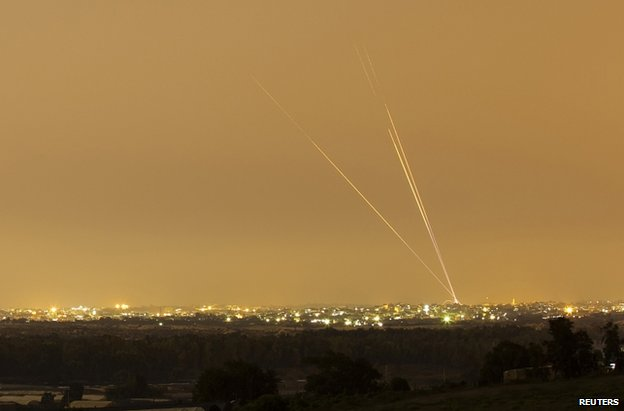 Rockets are fired from the north of the Gaza Strip towards Israel, 12 July