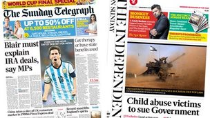Composite of Sunday Telegraph and Independent on Sunday front pages