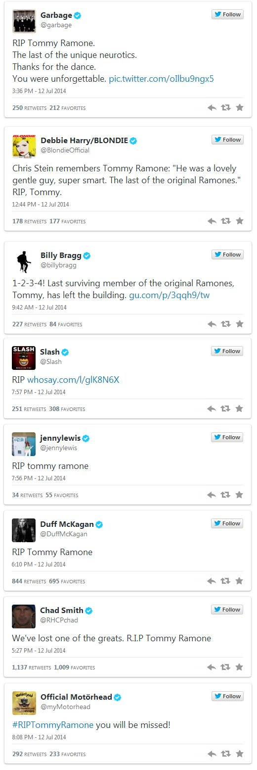 Twitter tributes to Tommy Ramone
