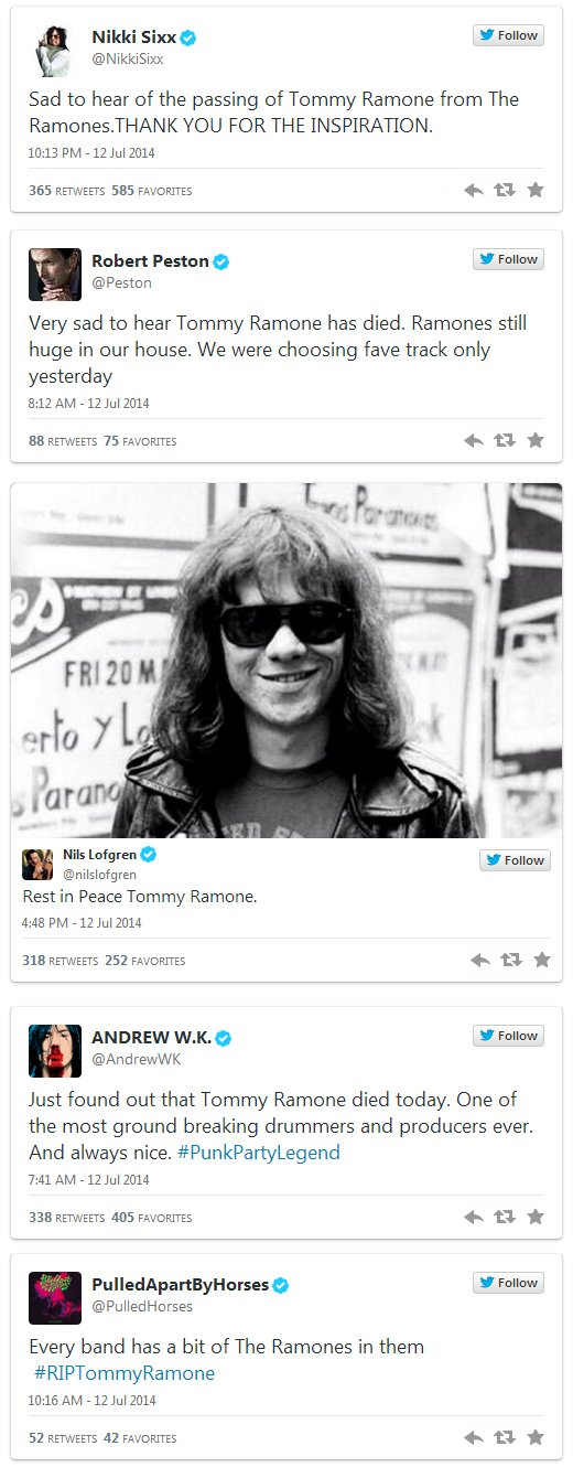 Further tributes to Tommy Ramone on Twitter