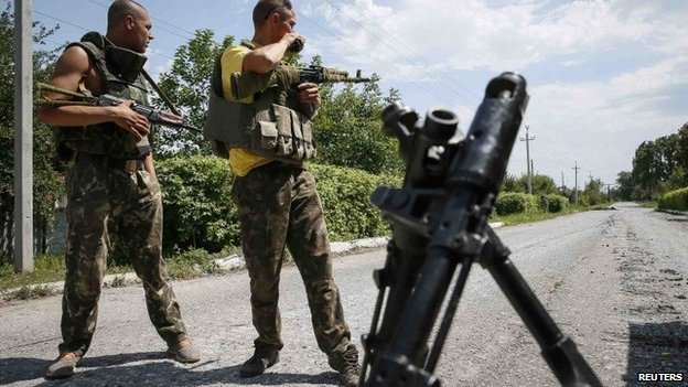 Ukrainian government troops near eastern town of Siversk - 12 July