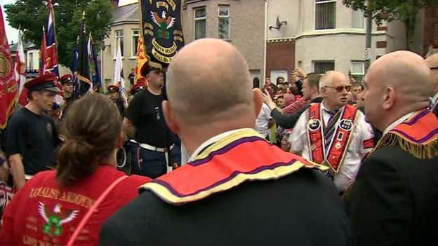Orange Order marshals formed a line across the Woodvale Road on Saturday and the parade stopped at the line