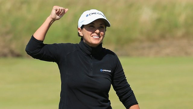 Mo Martin celebrates her eagle on the 18th at Royal Birkdale