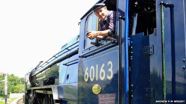 Swanage Railway volunteer driver Pete Frost on No. 60163 Tornado