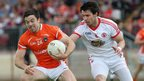 Armagh's Aidan Forker on the ball against Mattie Donnelly of Tyrone