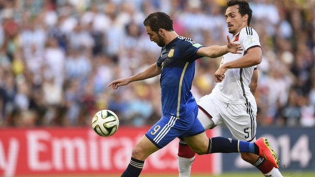 Gonzalo Higuain wastes a fantastic chance after a wayward Germany header puts the Argentina striker through on goal in the 2014 World Cup Final