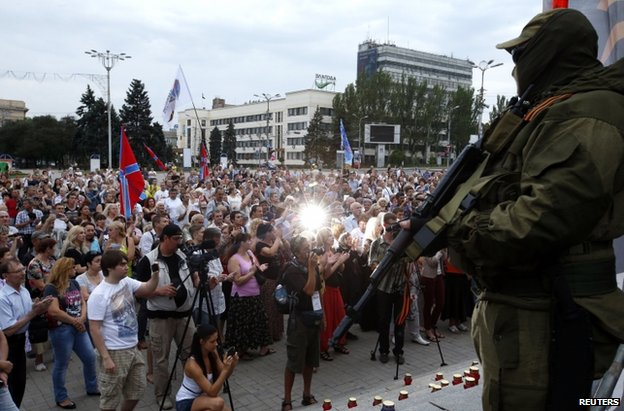 Pro-rebel rally in Donetsk, 13 July