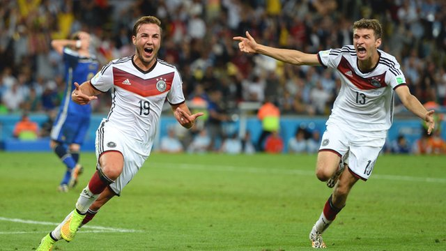 Mario Gotze celebrates after scoring for Germany