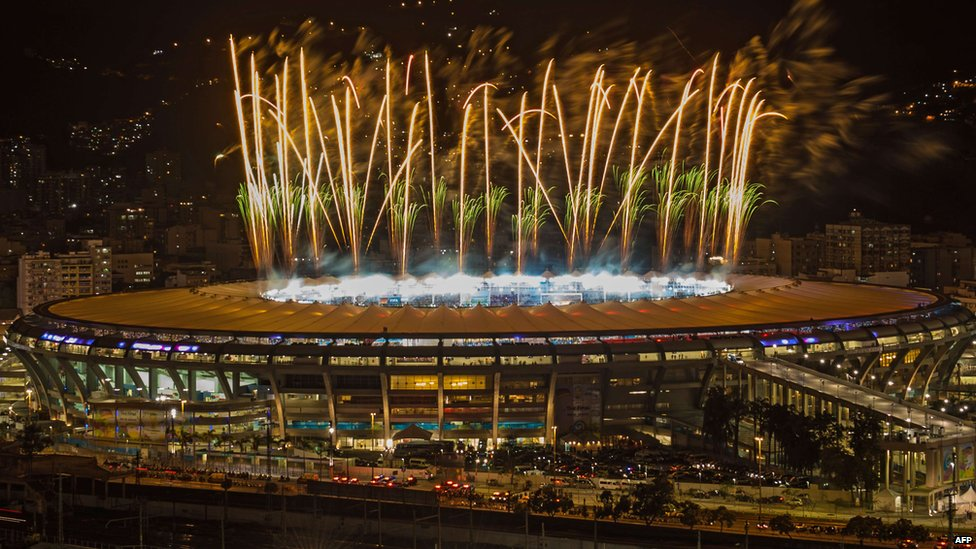Fireworks launched from the Maracana Stadium