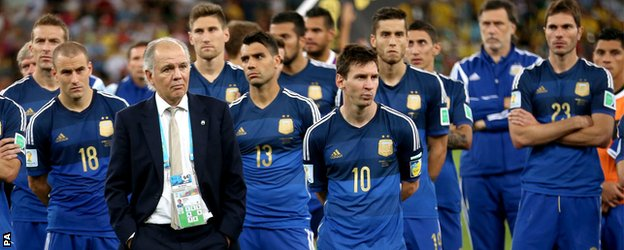 Argentina's dejected players after losing the 2014 World Cup final to Germany