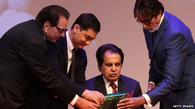 Dilip Kumar (centre) recently launched his autobiography in Mumbai in the presence of his Bollywood colleagues