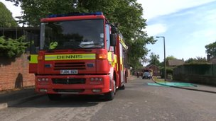 Fire engines at Stonebroom Primary School