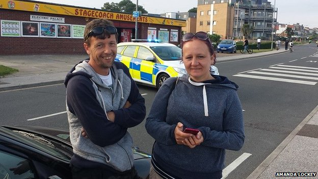 Amanda Lockey with husband, Bob, found the devices on the beach in Dovercourt