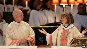 Justin Welby and the Reverend Canon Philippa Boardman, at a service at St Paul's Cathedral in May to celebrate the 20th anniversary of ordination of women as priests