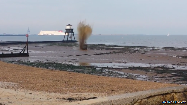 Controlled explosion on a beach in Dovercourt