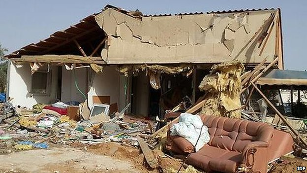 A house in Beersheba damaged by a Hamas rocket  ( Image from the IDF)