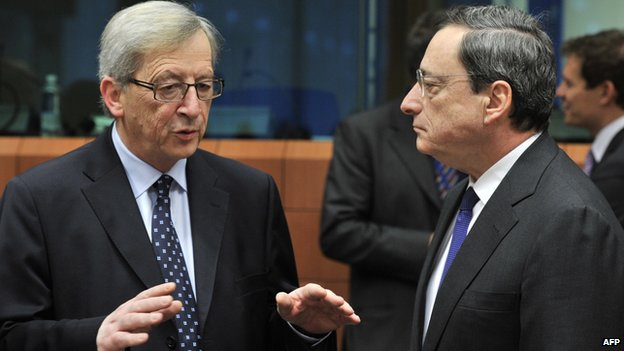 Luxembourg ex-PM Jean-Claude Juncker (left) with ECB President Mario Draghi