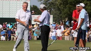 Colin Montgomerie celebrates his play-off victory