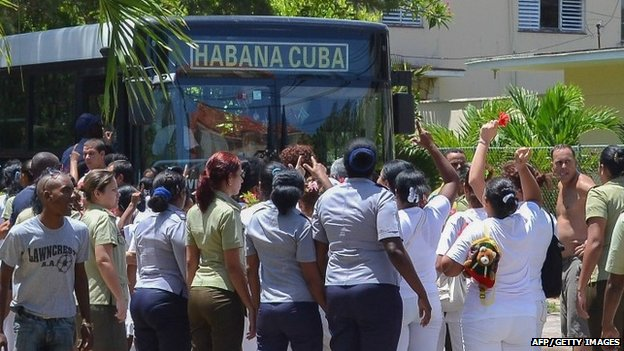 Cuba's Ladies in White opposition members were arrested on 13 July 2014 during a march in Havana.