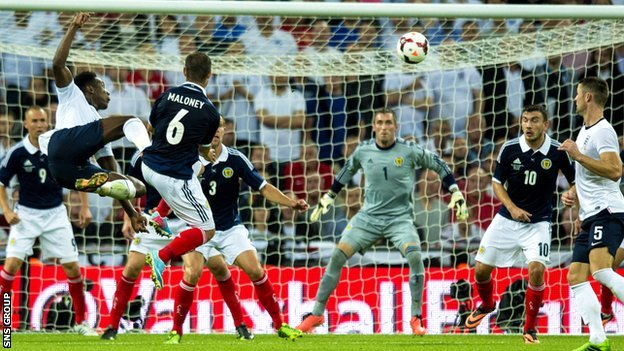 England won a five-goal thriller against Scotland at Wembley last year