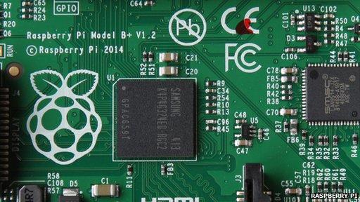 Close-up of Raspberry Pi Model B+