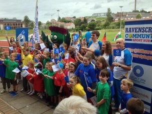 Crowds at Ravenscraig Stadium for the Queen's Baton Relay