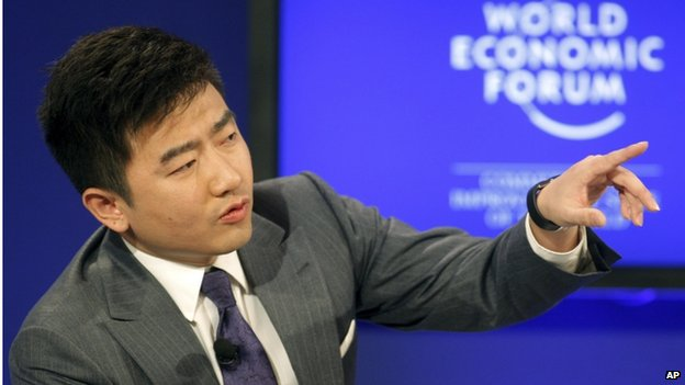 In this 29 Jan 2011 file photo, director and anchor of China Central Television Rui Chenggang moderates a session at the World Economic Forum in Davos, Switzerland.