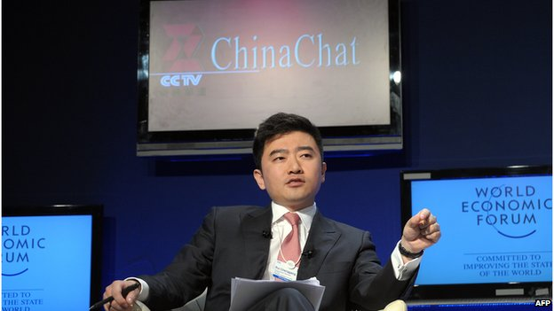 Rui Chenggang, Director and anchor of China Central Televison (CCTV) talks during a CCTV televised debate focusing on China's growth at the World Economic Forum on 29 January 2010 in Davos.