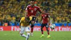 Neymar is fouled by Juan Zuniga
