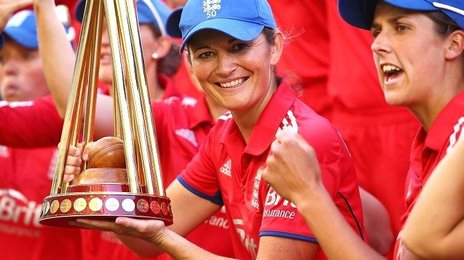 England captain Charlotte Edwards with the Ashes trophy