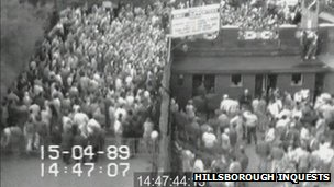 CCTV of fans at Hillsborough