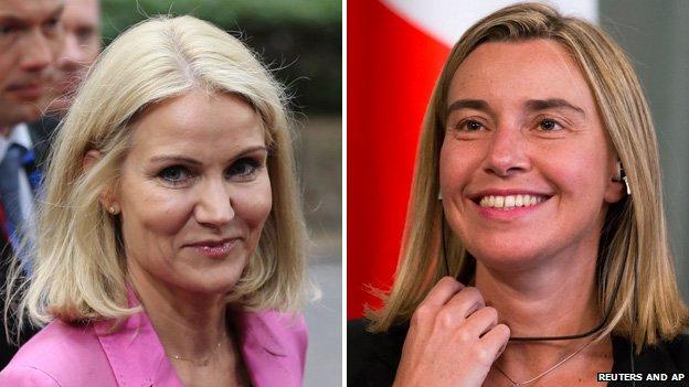 Danish PM Helle Thorning-Schmidt (left) and Italian Foreign Minister Federica Mogherini