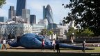 A giant dead parrot is seen on London's South Bank